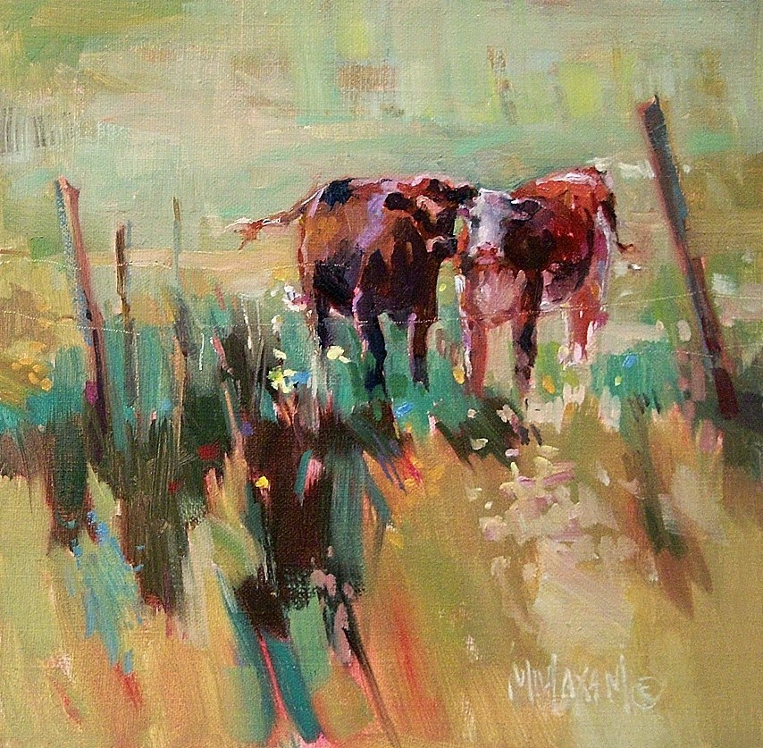 """""""At Home On The Range,  more solvent-free painting"""" original fine art by Mary Maxam"""