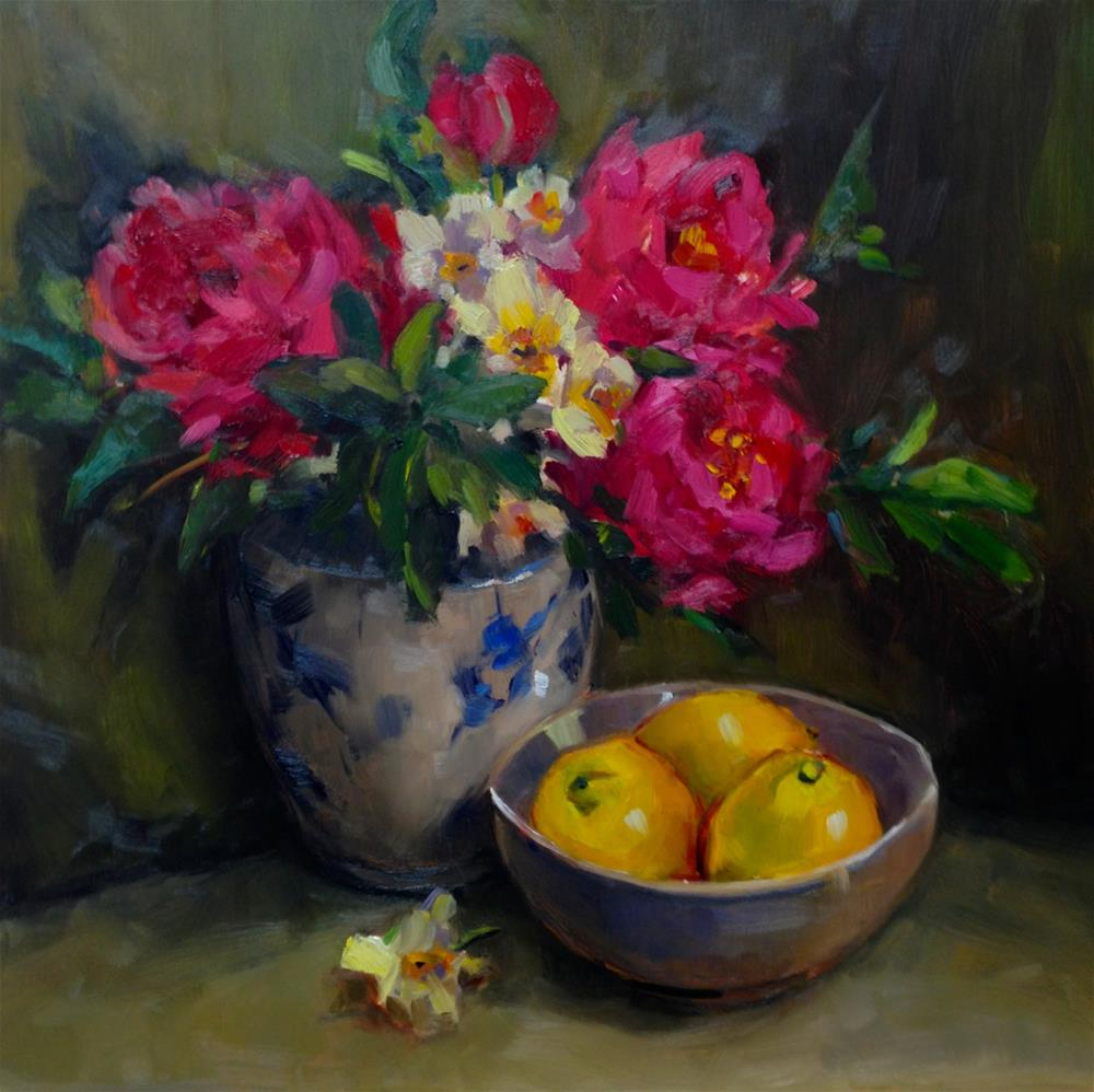 """Peonies in a Vase with Lemons"" original fine art by Laurie Johnson Lepkowska"