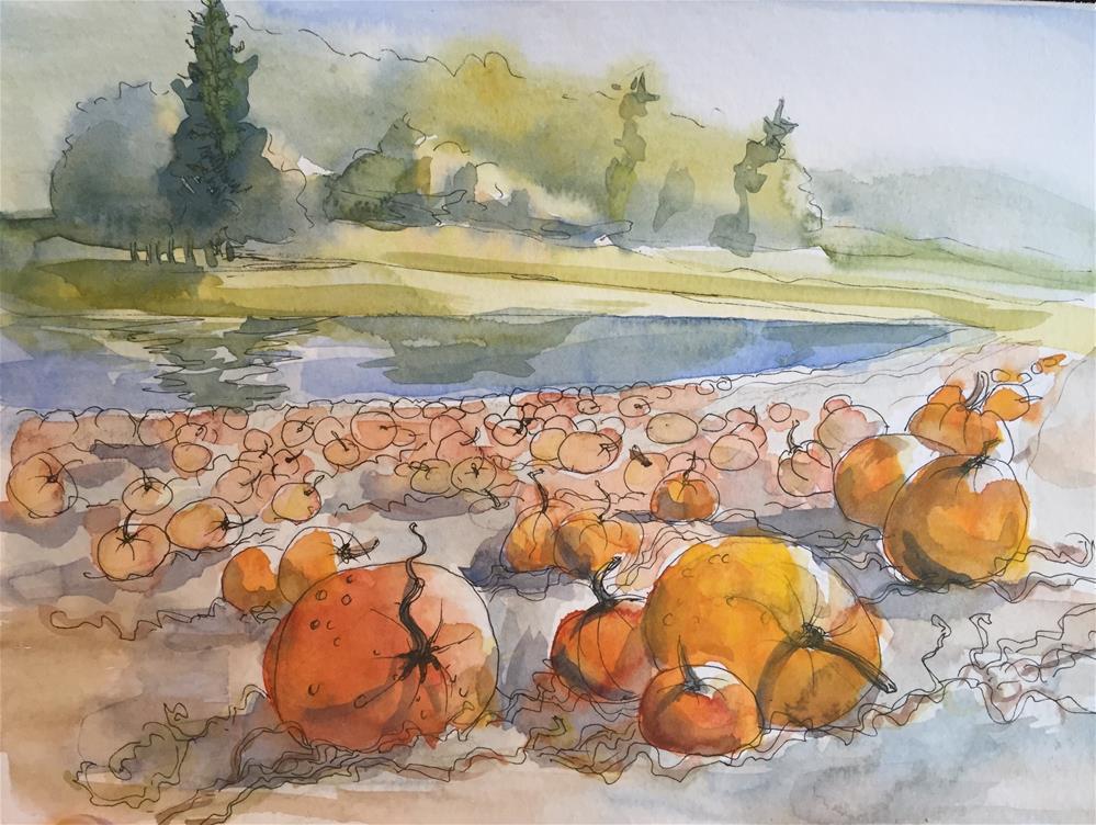 """A pumpkin patch"" original fine art by Natasha Ramras"