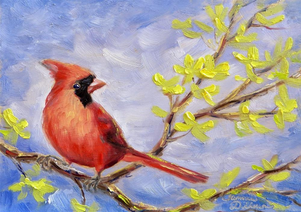 """Cardinal in the Forsythia"" original fine art by Tammie Dickerson"