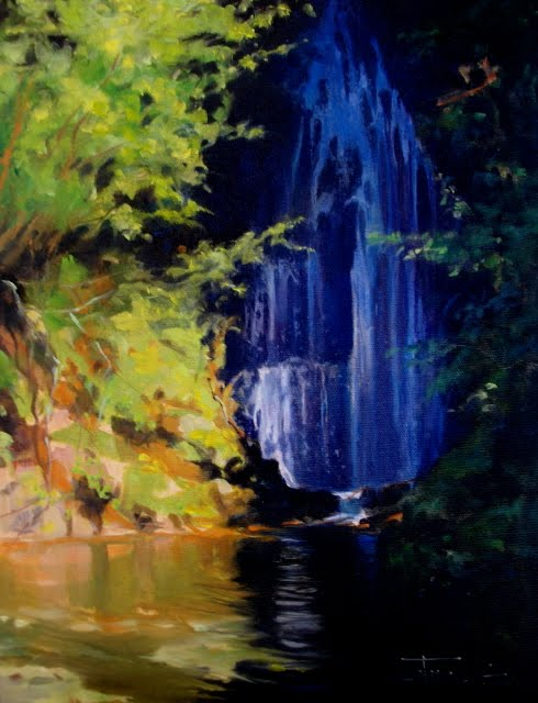 """""""Waterfall at Cayuse Pass oil landscape painting, Mount Rainier national park"""" original fine art by Robin Weiss"""