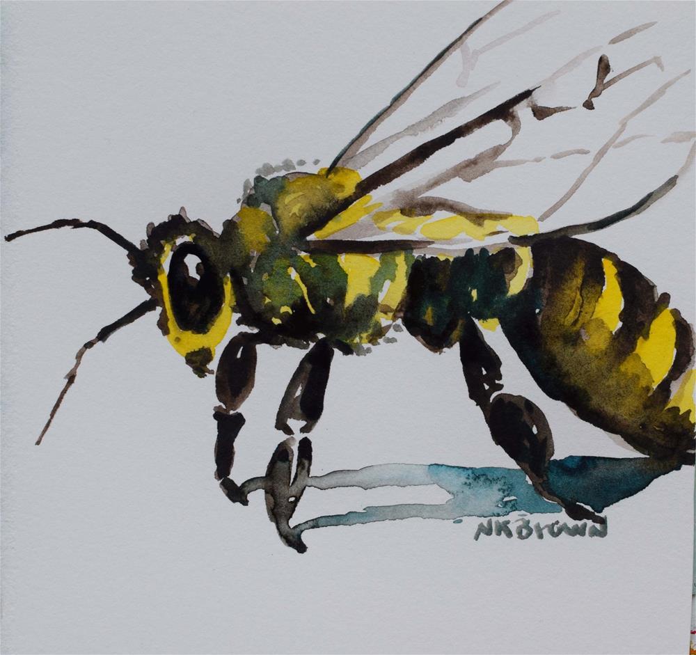 """Not So Busy Bee"" original fine art by Nancy Brown"