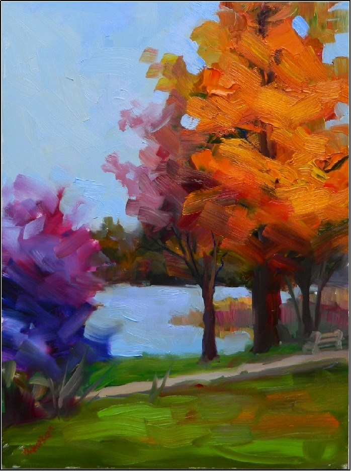 """Autumn Day at Marsh Creek, 9x12, plein air, Marsh Creek State PArk, Chester County paintings, autu"" original fine art by Maryanne Jacobsen"