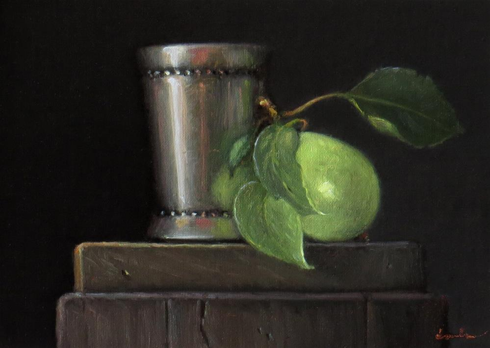 """Silver Cup with Pear"" original fine art by Darla McDowell"
