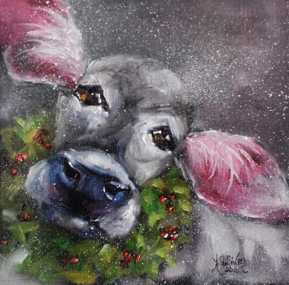 """Merry Christmas cow painting by Alabama Artist Angela Sulivan"" original fine art by Angela Sullivan"