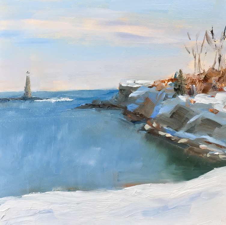"""#120 - Ram Island Ledge Light #3"" original fine art by Sara Gray"