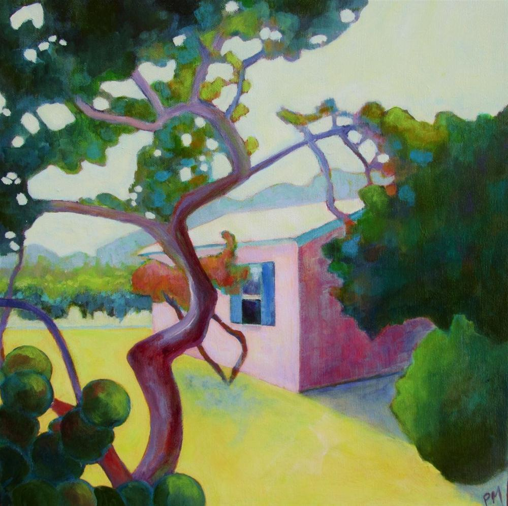 """Pink Florida Cottage"" original fine art by Patricia MacDonald"