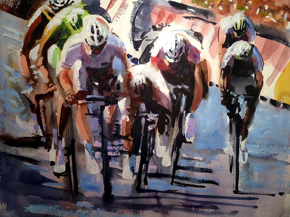 """""""Short Sharp Sprint"""" original fine art by Shirley Peters"""