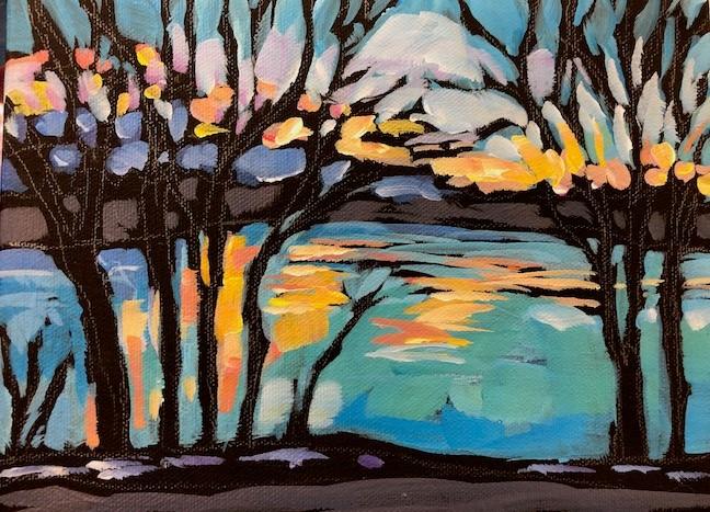 """Cedar Lake Morning"" original fine art by Kat Corrigan"
