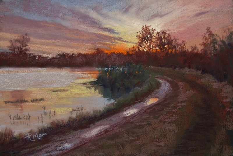 """Winter Walk, River Orwell"" original fine art by Ruth Mann"