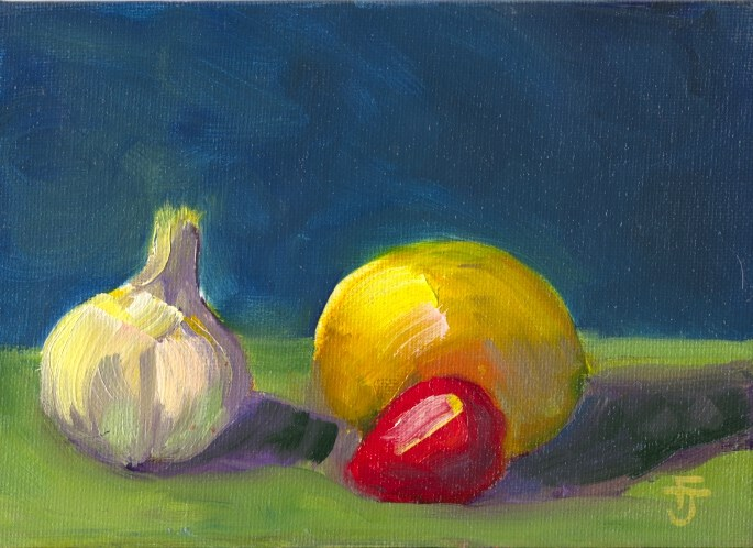 """A Good Start to Something Yummy"" original fine art by Francine Dufour~Jones"