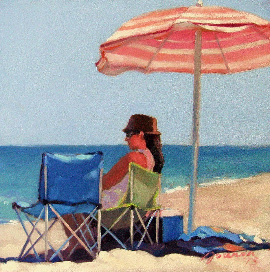 """Pink Stripes--Series Painting of Beach Umbrella"" original fine art by Joanna Bingham"