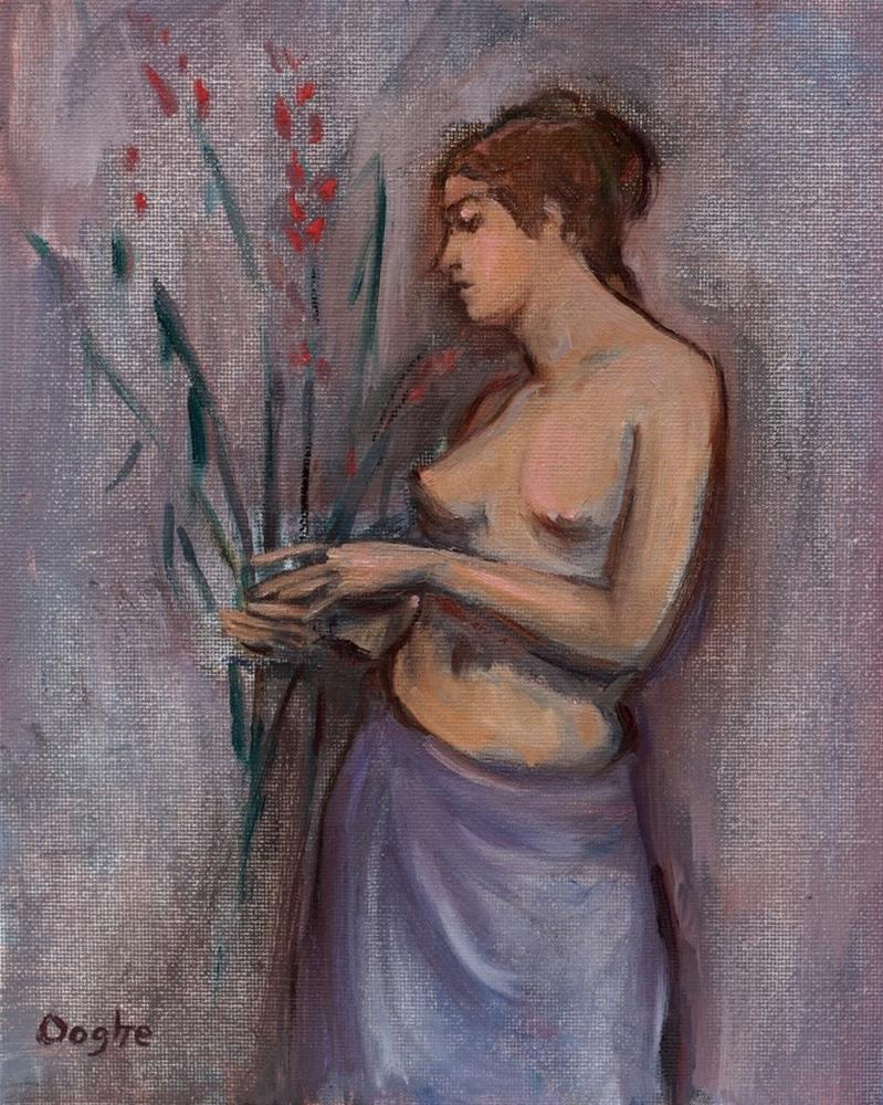 """""""Woman Holding Flowers"""" original fine art by Angela Ooghe"""