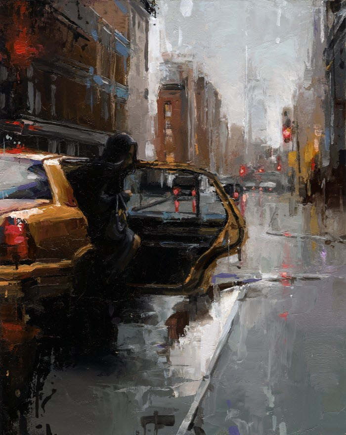 """""""TAXI NYC"""" original fine art by Victor Bauer"""