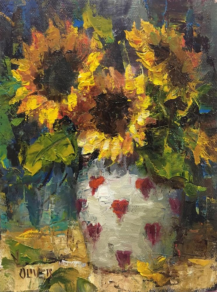 """""""Red Hearts and Sunflowers"""" original fine art by Julie Ford Oliver"""
