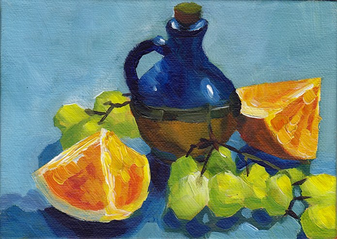 """Blue Jar With Oranges and Grapes"" original fine art by J M Needham"