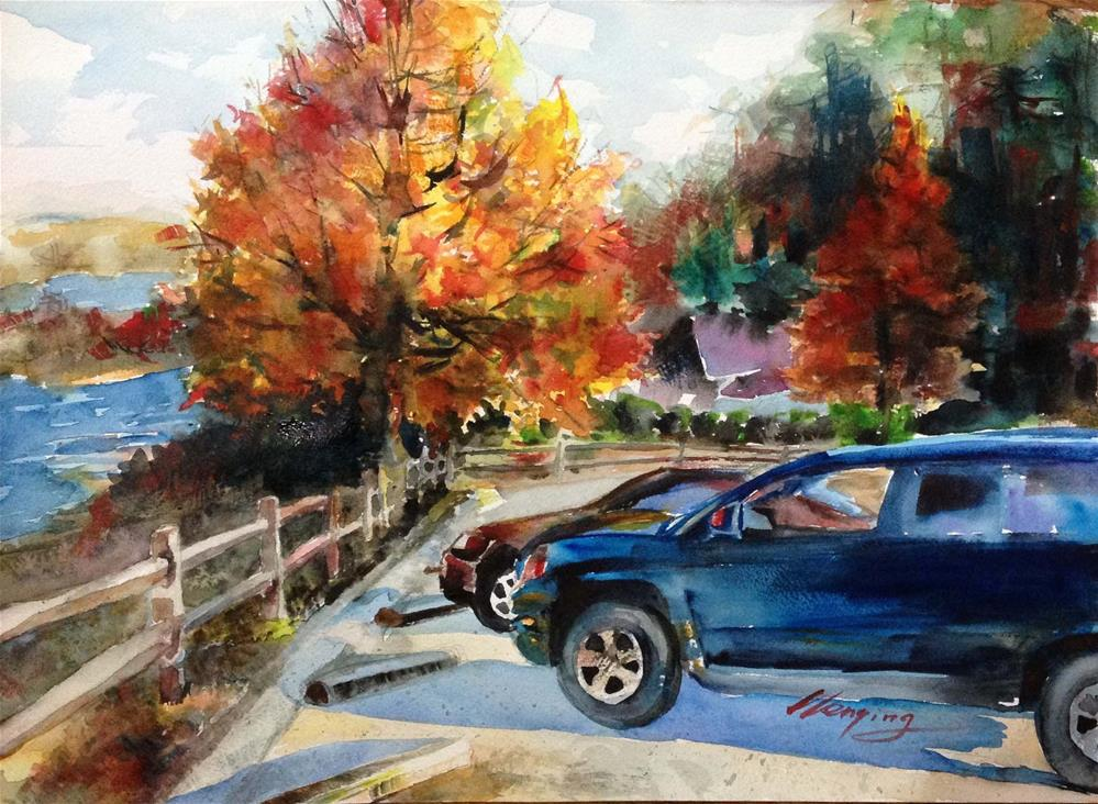 """canal in Augusta"" original fine art by Wenqing Xu"