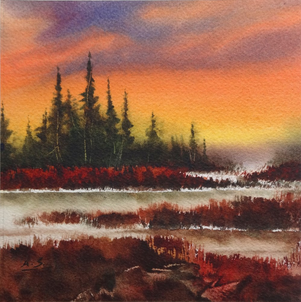 """Dusk over Marsh"" original fine art by Arena Shawn"