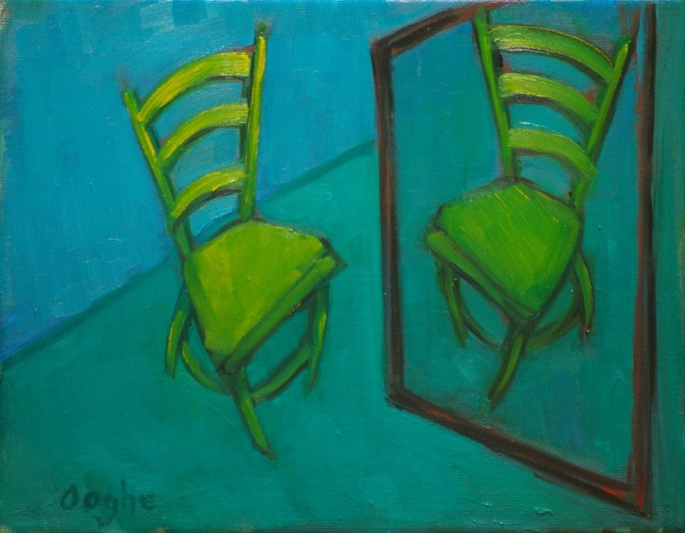 """""""Green Chair with Reflection"""" original fine art by Angela Ooghe"""
