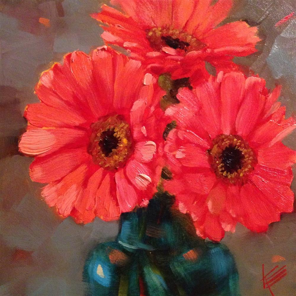 """Pink in Teal"" original fine art by Krista Eaton"