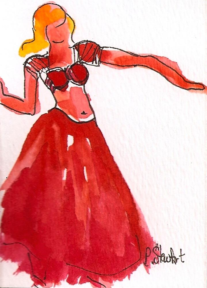 """""""ACEO Belly Dancer #25 in a series, wearing a simple red choli and skirt, Original"""" original fine art by Penny Lee StewArt"""