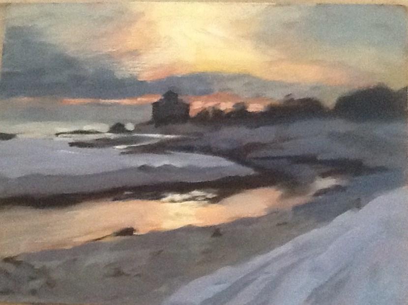 """""""Cold Good Harbor Morning"""" original fine art by Elizabeth Bish"""