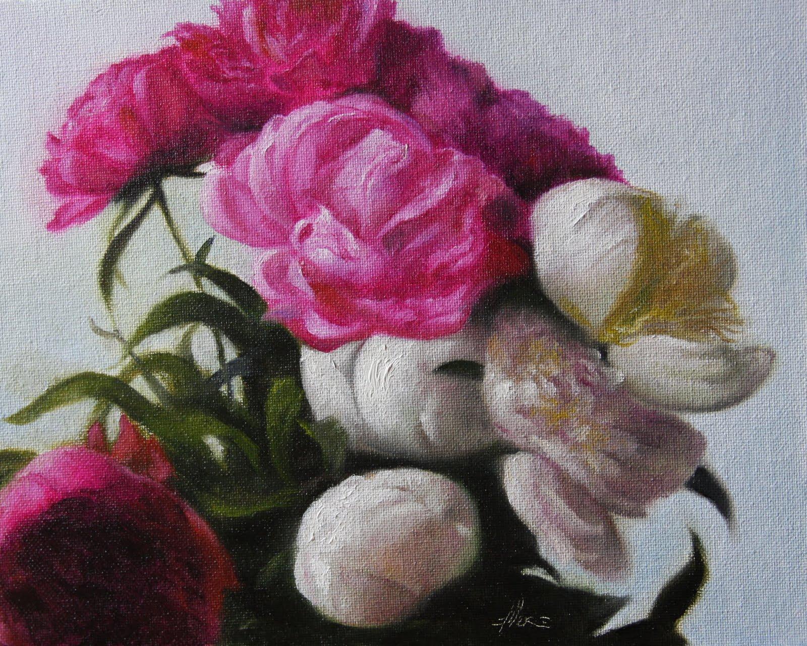 """Fuchsia Peonies"" original fine art by Jonathan Aller"