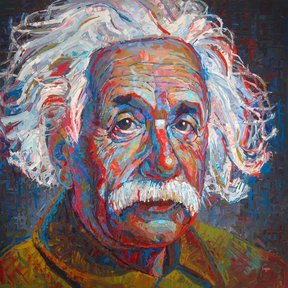 """Albert Einstein & BH Art Show Report"" original fine art by Raymond Logan"