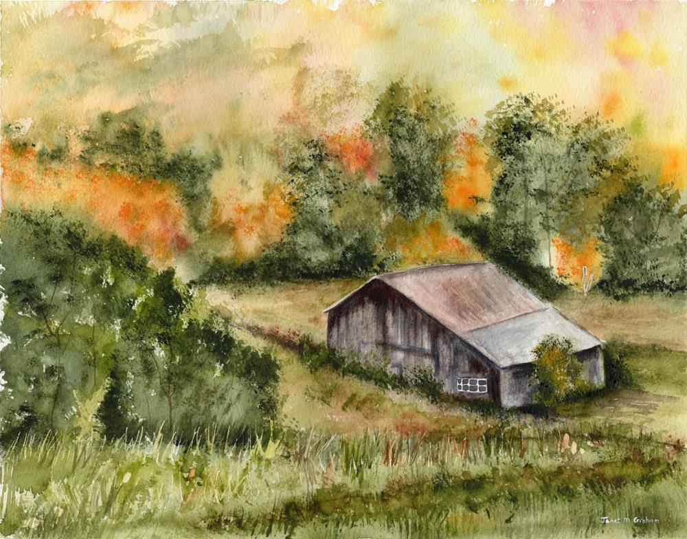 """Autumn Barn"" original fine art by Janet Graham"