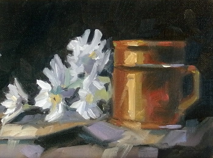 """""""No 726 Cup of Flowers"""" original fine art by Robin J Mitchell"""