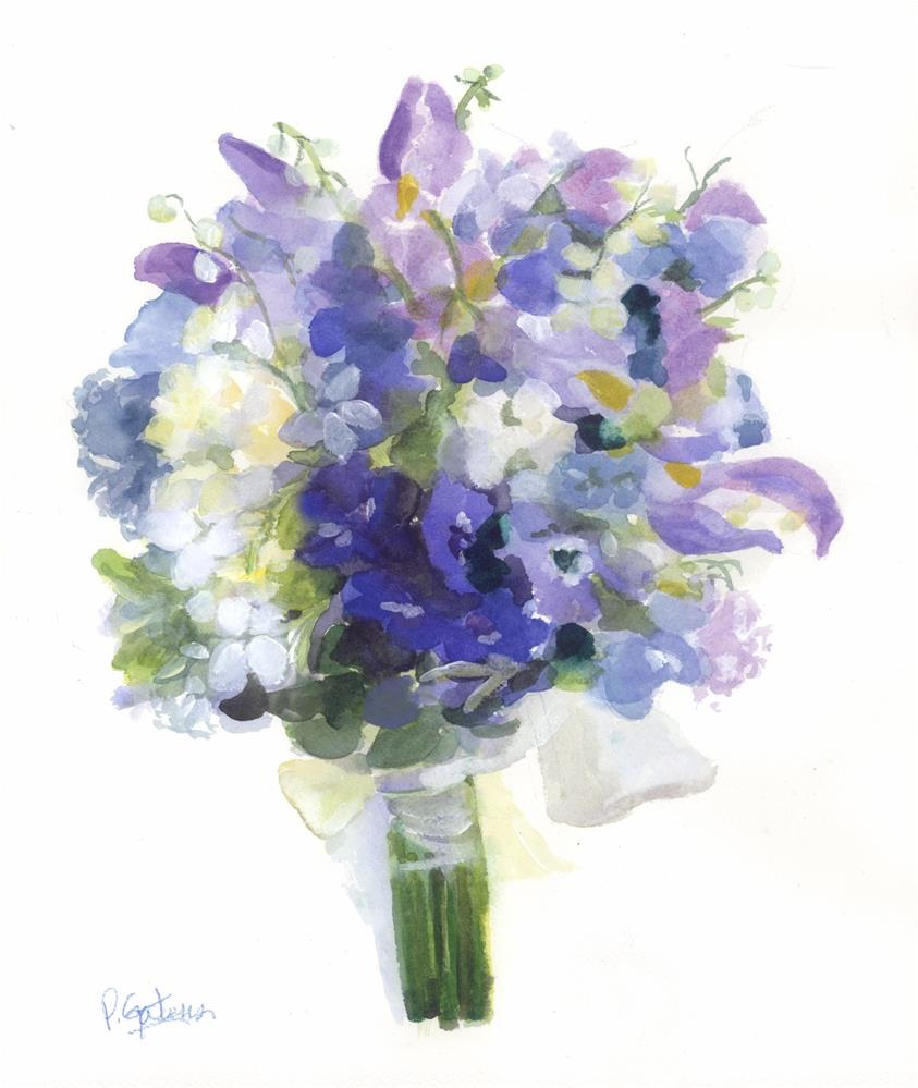 """Blue Bridal Bouquet for Greenbrier Hotel"" original fine art by Pamela Gatens"
