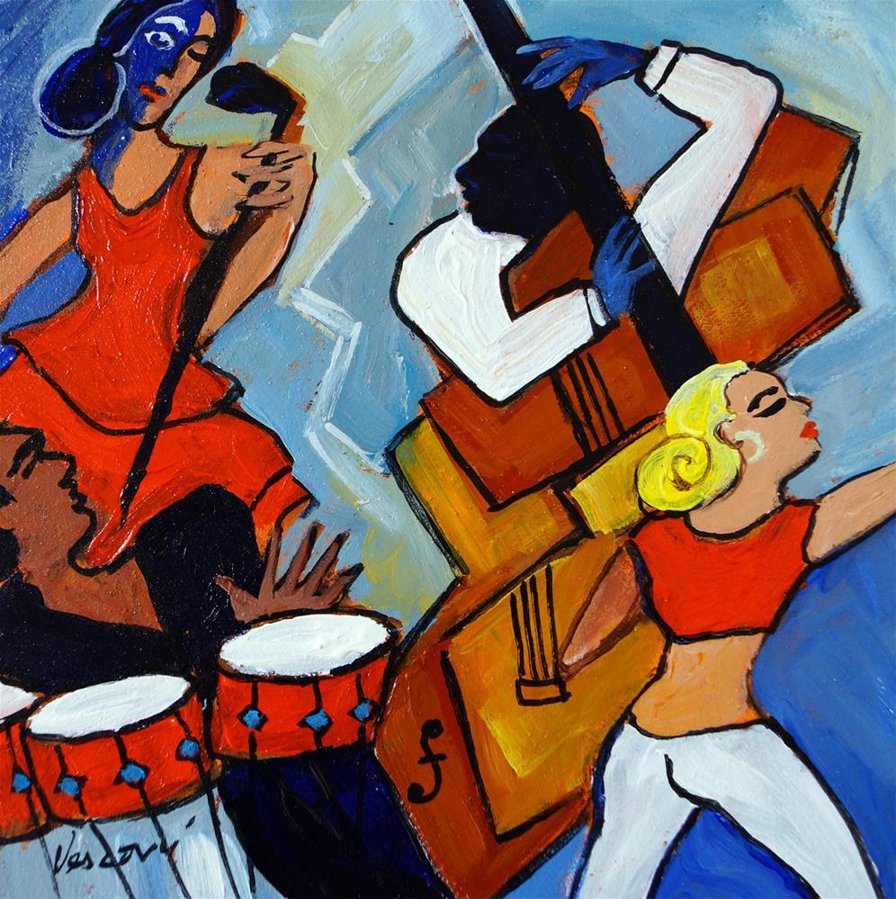 """White Pants, Red Bongos"" original fine art by Valerie Vescovi"