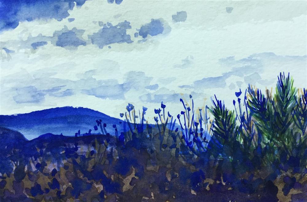 """""""6084 - Blue Hills With mat"""" original fine art by Sea Dean"""