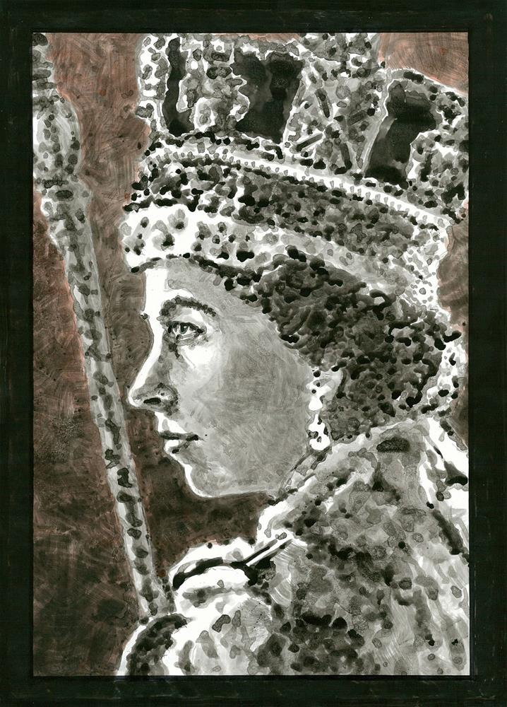 """156 QE2 CORONATION PORTRAIT 4"" original fine art by Trevor Downes"
