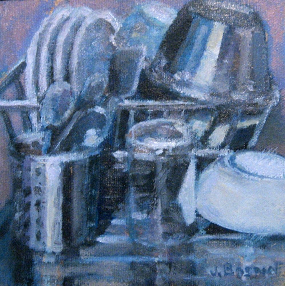 """Dishes Drying on Rack"" original fine art by Jennifer Boswell"
