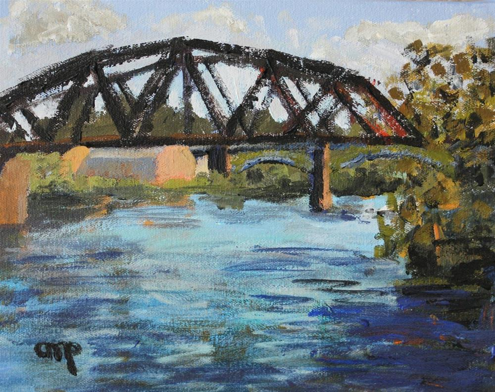 """Allegheny River Crossing viewed from North Side"" original fine art by Christine Parker"