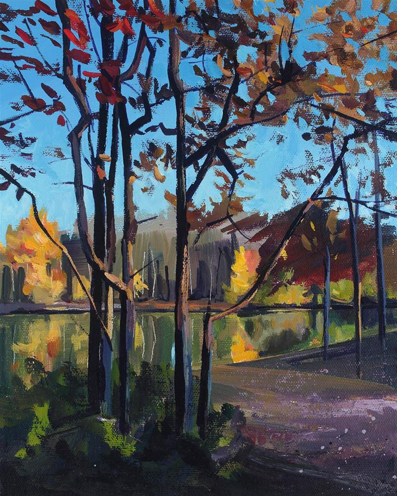 """Trees at Lake Audubon"" original fine art by Chris Breier"