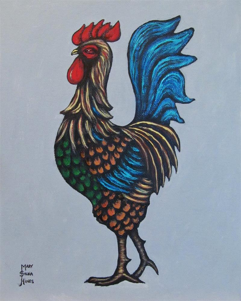 """""""Rooster 1"""" original fine art by Mary Sylvia Hines"""
