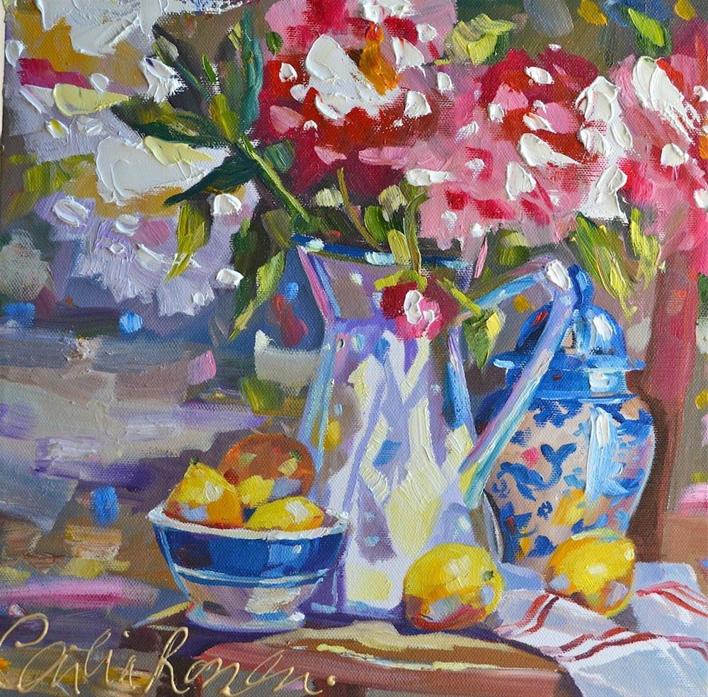 """""""DELFT AND PEONIES"""" original fine art by Cecilia Rosslee"""