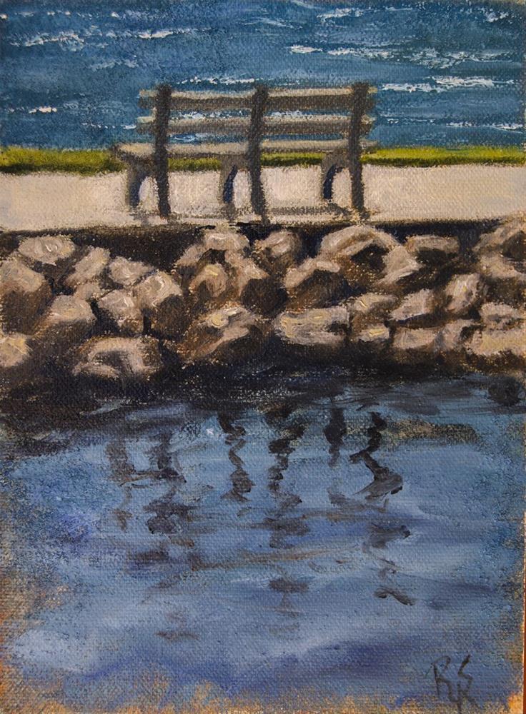 """""""Bench Overlooking Lake"""" original fine art by Rachel Steely"""