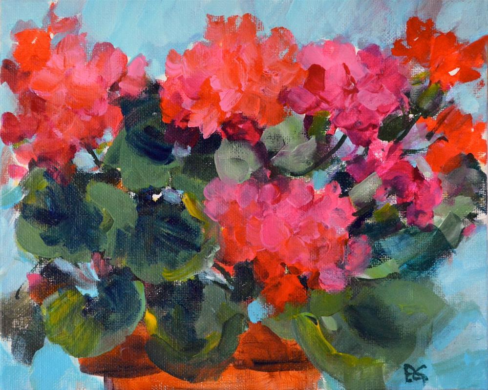 """Red Lace Geraniums"" original fine art by Pamela Gatens"