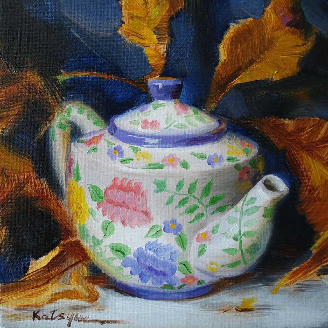 """Teapot & Autumn Leaves"" original fine art by Elena Katsyura"