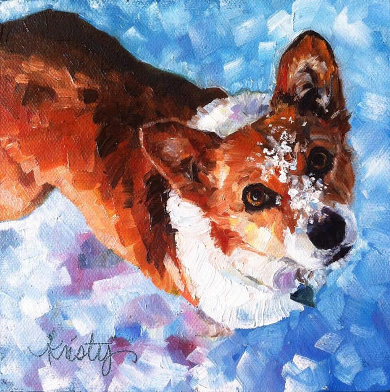 """""""TALLY IN THE SNOW"""" original fine art by Kristy Tracy"""