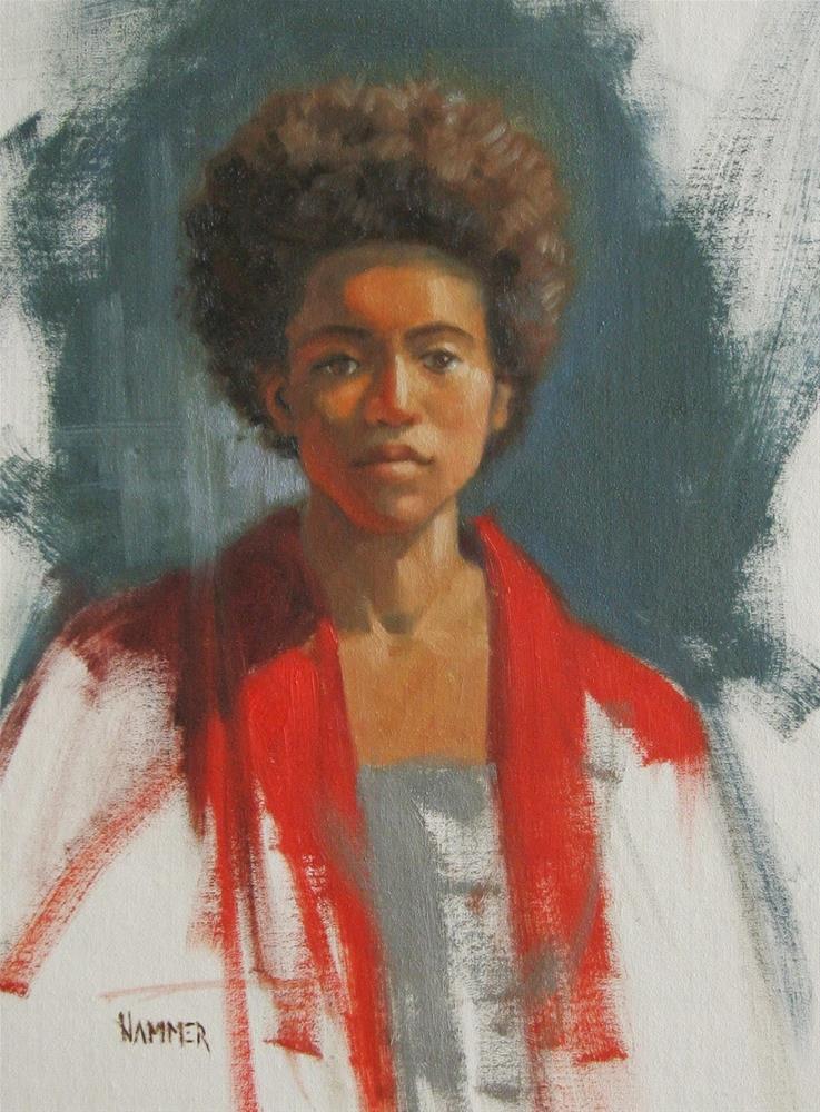 """Kristyn in Red  10 x 13 oil"" original fine art by Claudia Hammer"