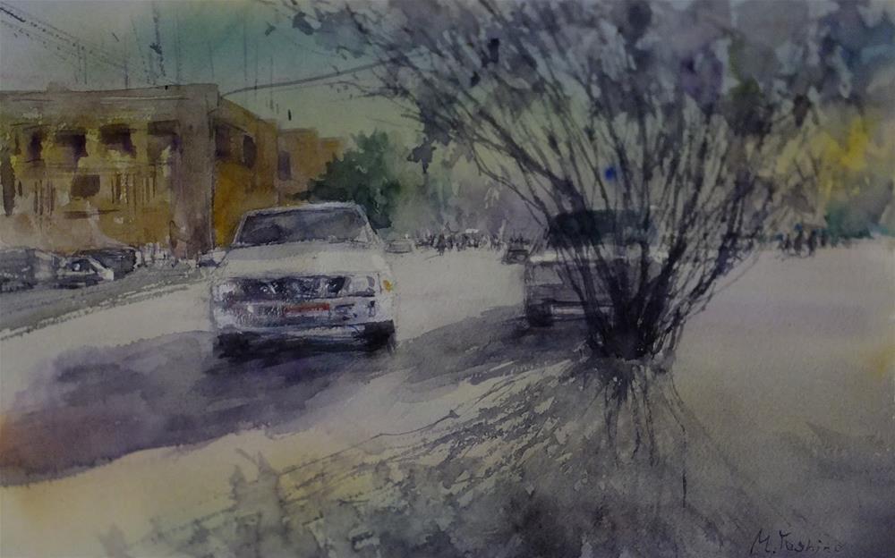 """""""Al Jimi Municipality area,Al Ain."""" original fine art by Midori Yoshino"""
