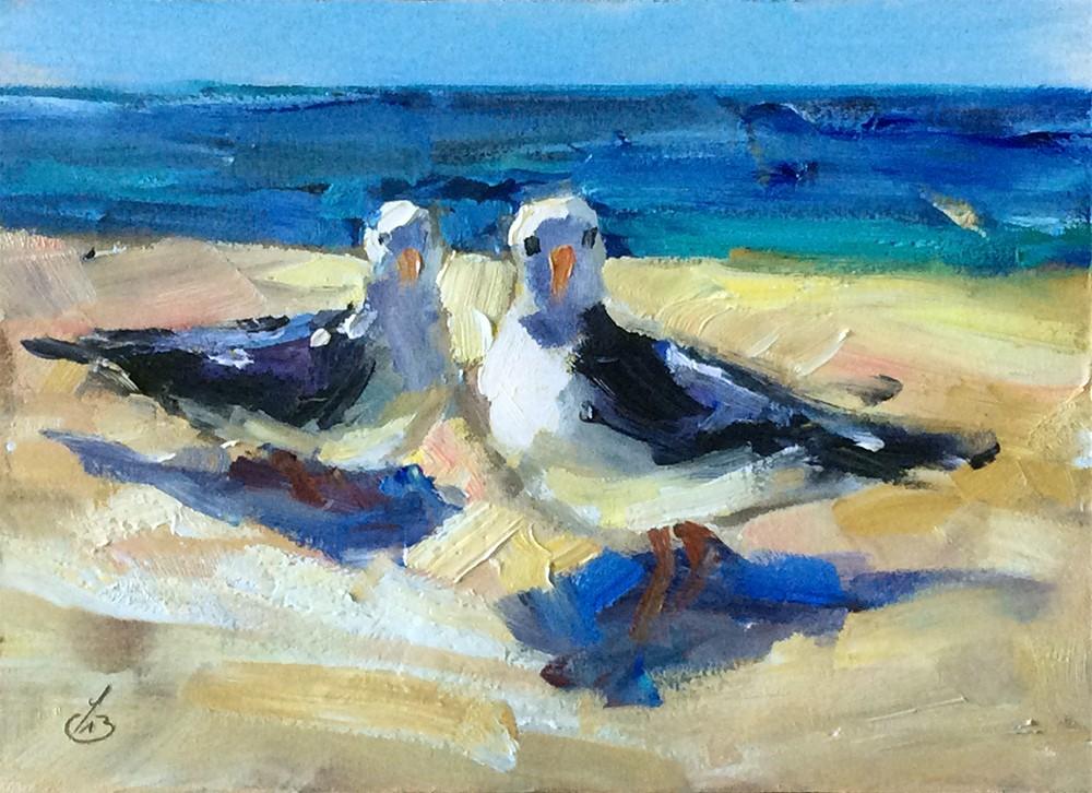 """SEA GULLS"" original fine art by Tom Brown"