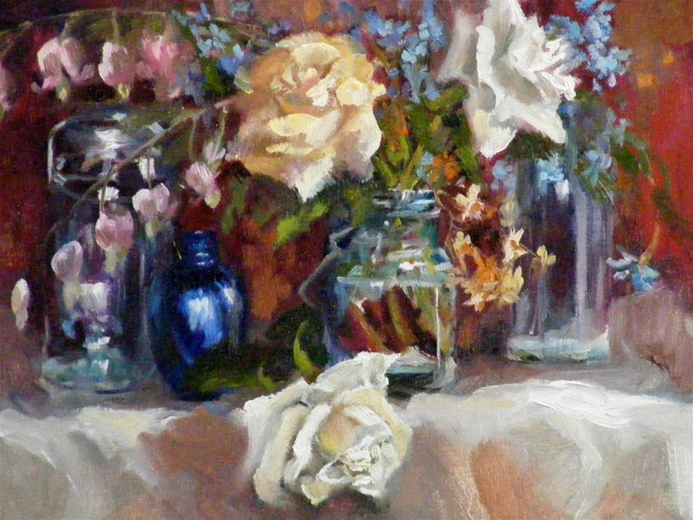 """Flowers & Glass, A Still Life"" original fine art by Diana Delander"