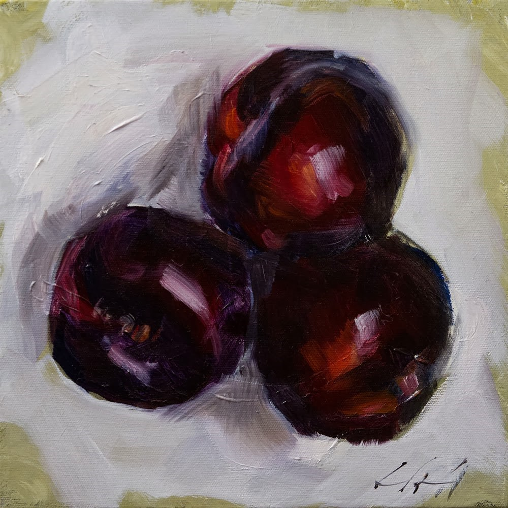 """Three Little Plums"" original fine art by Clair Hartmann"
