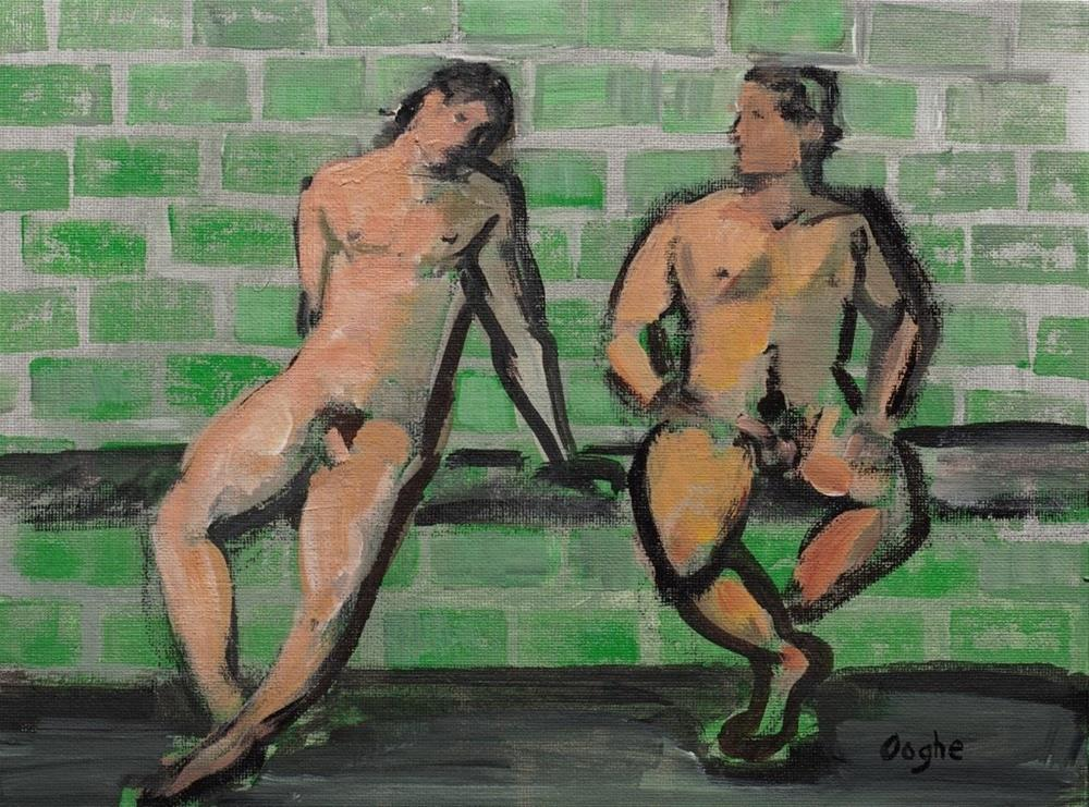 """""""Two Male Nudes"""" original fine art by Angela Ooghe"""