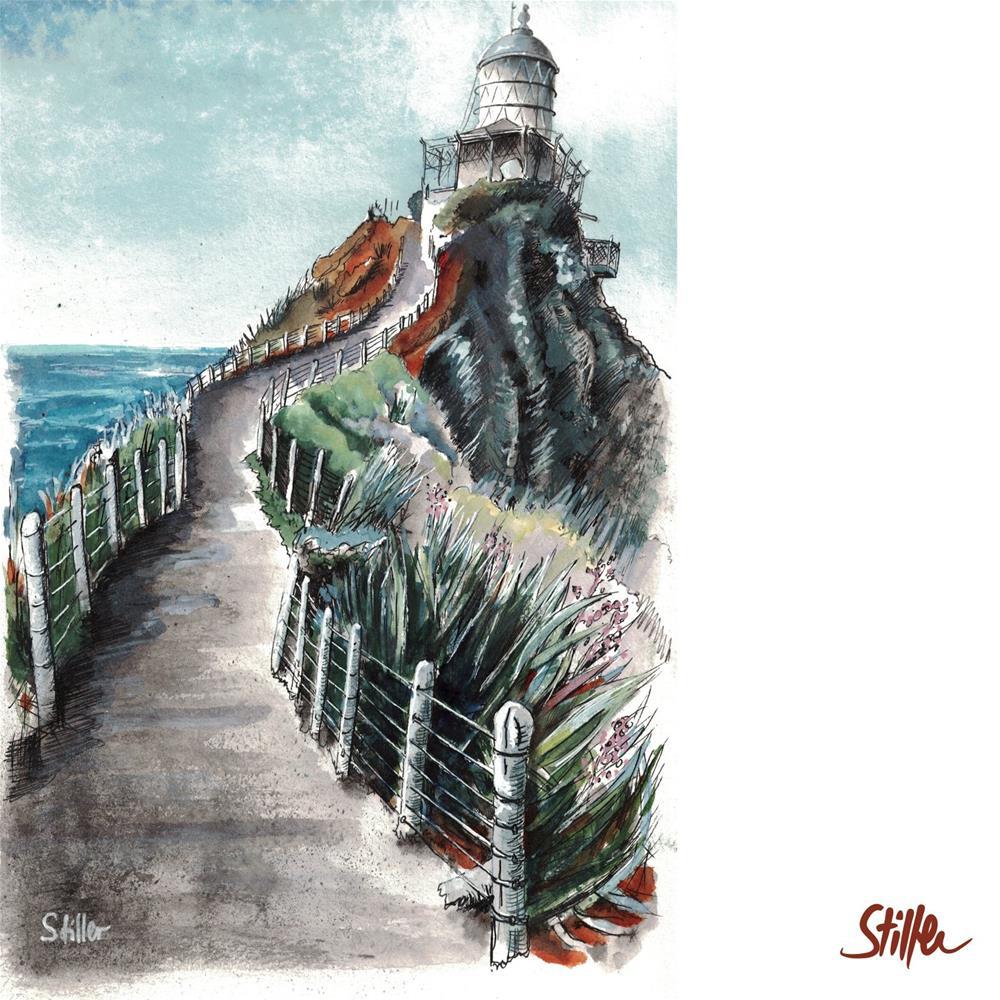 """3454 Nugget Point Lighthouse"" original fine art by Dietmar Stiller"